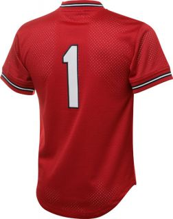 Smith #1 1985 St. Louis Cardinals Red Mitchell & Ness Mesh BP Jersey
