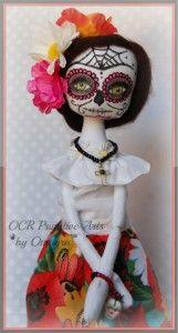 Lupe, Sugar Skull Dia de los Muertos Halloween ooak Art Doll