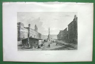 Austria Linz Main Square Antique Print