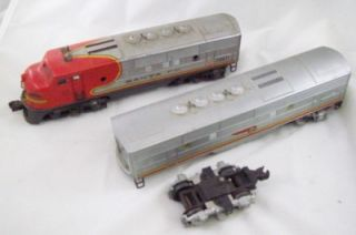 Lionel Train Locomotive 2333 20 Car Heavy Santa FE for Repair or Parts