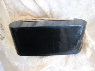 Vtg Lucite Bakelite Box Purse Black with Rhinestone Decorations Cute