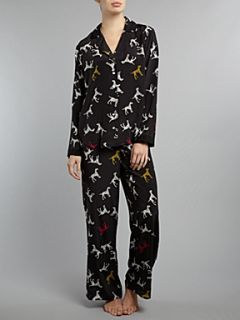 Timney Dog print silk pj set Black
