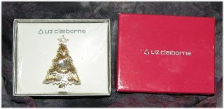liz claiborne christmas tree brooch pin holiday jewelry