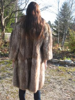 S58 Must Have Raccoon Fur Coat Brown Fit Size Small 4 to 5