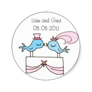 Wedding Couple   Blue Birds Cake Topper Sticker