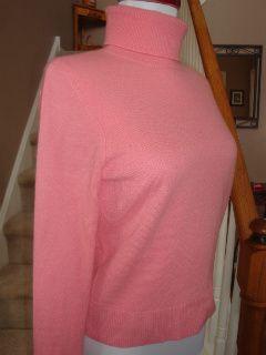 Petites Pink 100% Cashmere Turtleneck Sweater Top PM