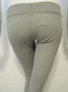 LNA Womens Olivia Silver Grey Rouched Calf Legging Pants L $98 New