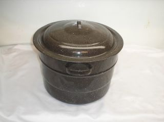 Old Vtg Enamelware Lobster Pot & Lid Kettle Cookware Kitchenware Black