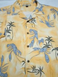Tommy Bahama Lobsters Printed Silk Short Sleeve Camp Shirt XL