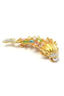Kenneth Jay Lane KJL New Gold Crystal Fish Brooch Pin Brosche Broche