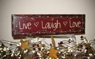 Red Live Laugh Love Wood Block Sign Country Rustic Home Decor
