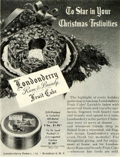 1945 Ad Londonderry Bakers Ltd. Brooklyn Rum & Brandy Fruit Cake