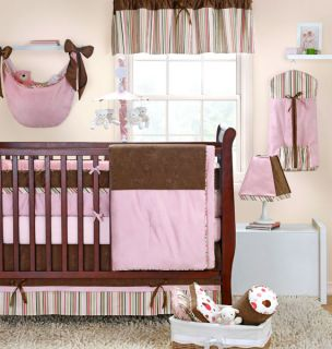 New Banana Fish Lola Baby Crib Set Stripes Pink Brown Gray Green