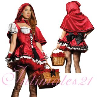 Deluxe Little Red Riding Hood Dress Costume Full Set Halloween Fancy
