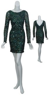 Fully Sequins Hunter Green Long Sleeve Cocktail Dress 10 New