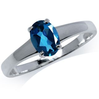 Natural London Blue Topaz 925 Sterling Silver Solitaire Ring Size Sz 8