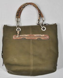 London Fog Womens Handbag Reversible Olive Green Tan Gallardo Purse