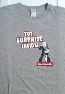 Vintage Cracker Jack Toy Inside Shirt Gray Large Very Funny