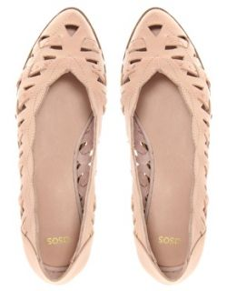 New ASOS Lizzy Pink Cut Out Leather Ballerina Pumps