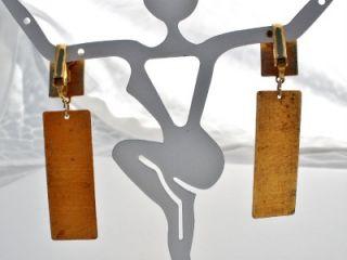 Orange Yellow Enamel Copper Clip Long Dangle Earrings Vintage