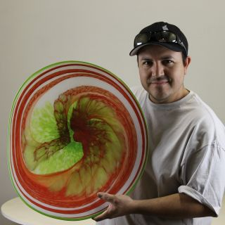 Holdman Studios Hand Blown Hot Glass Platter Red Yellow White Green