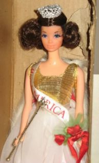Vintage 1972 Barbie Walk Lively Miss America Kelloggs Promotional Doll