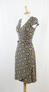 London Times Tan Purple Green Floral Stretch Wrap Dress Size 4 DT926SB