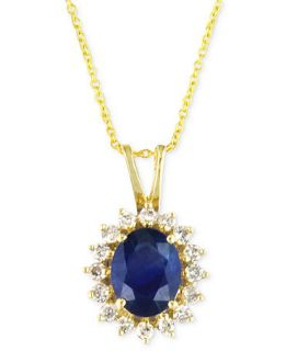 Royalty Inspired by Effy Collection 14k Gold Necklace, Sapphire (2 ct