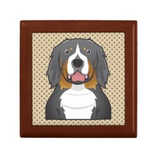Bernese Mountain Dog Cartoon Portrait Jewelry Box