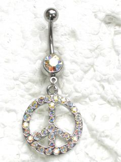 AB Rhinestone Crystal Peace Sign Navel Belly Button Ring Q19
