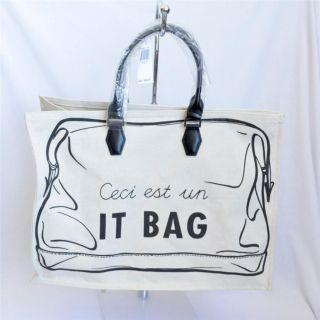 Longchamp Cream Canvas It Bag EW Tote Shopper Handbag Purse Bag New