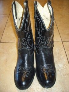 Loredo Childs Black Leather Cowboy Boots US 1 D Very Nice