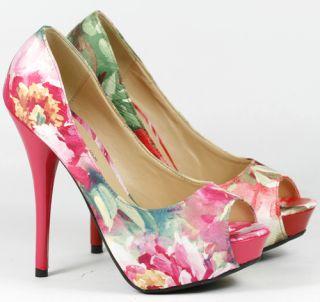 Fuchsia Pink Floral Open Toe Stiletto Heel Platform Pump 7 US Wild