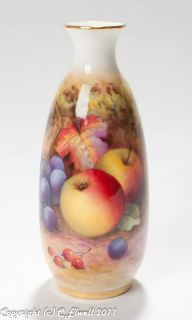 Worcester Hand Fruit Painted China Vase Signed by Lockyer C1932