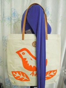 Burch Birds Printed Flat Tote Lorenzo Bird shopper Tote bag Nwt Orange