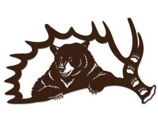 Loon Lake Bear in Moose Antler Brown Metal Wall Art