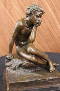 Signed Original Lopes Lonely Boy Bronze Statue Figurine Art Deco