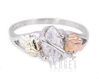 Black Hills Sterling 12K Gold Ring w CZ Size 7