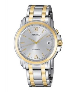 Seiko Watch, Mens Kinetic Two Tone Stainless Steel Bracelet 37mm