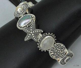 Sterling Silver Gemstone Lori Bonn Charm Bracelet Beach Comber