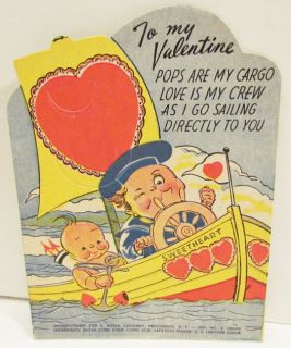 Rosen Valentine Lollipop Holder Card Cupid Boy Boat