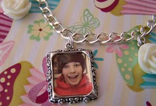 Louis Tomlinson One Direction Picture White Roses Charm Bracelet
