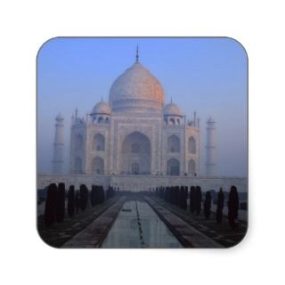 Asia; India; Agra. Taj Mahal. Square Stickers