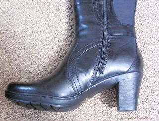 New Clarks England Loyal Black Leather Knee High Riding Boots Size 6M
