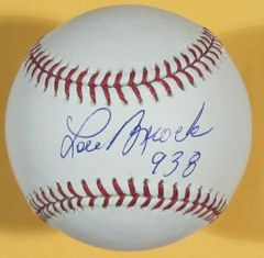 Lou Brock Autographed Signed MLB Baseball St Louis Cardinals w 938
