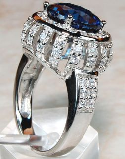London Blue Topaz,White Topaz & 925 SOLID STERLING SILVER ring ,size