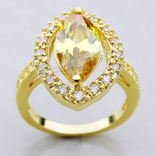 Brand Jewellery Antique Women 18K Yellow Gold Filled 10ct Topaz Ring