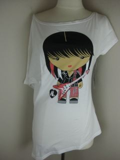 Harajuku Lovers White Love Guitar Rock Tee Shirt Junior 723