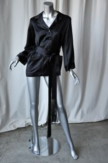 Yves Saint Laurent Vintage Black Satin Smoking Jacket M