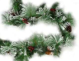 10 Long Needle Flocked American Pine Christmas Garland